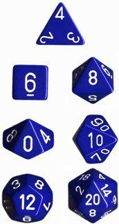 Dice Set Opaque Set Blue/White (7)