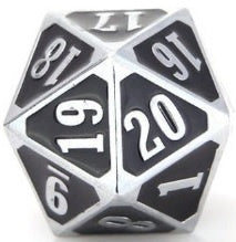 Die Hard Dice Metal MTG Roll Down Counter - Shiny Silver/Black (Single)