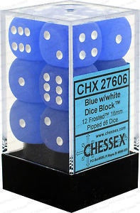 D6 Dice Frosted 16mm Blue/White  CHX27606