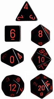 Dice Set Opaque Black/Red (7)