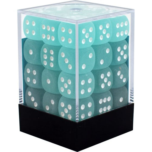 D6 Dice Frosted 12mm Teal/White (36 Dice in Display) CHX27805