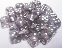 Dice Translucent 12mm D6 Smoke with White (36) CHX23808