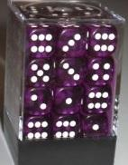 Dice Translucent 12mm D6 Purple with White (36)