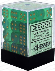D6 Dice Borealis 12mm Light Green/Gold (36 Dice in Display) CHX27825