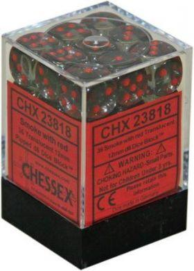 Dice Translucent 12mm D6 Smoke with Red (36) CHX23818
