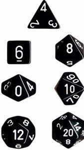 Dice Set Opaque Black/White (7)