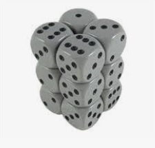 Grey with Black 12 Opaque 16mm D6 Dice Block