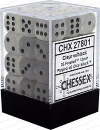 D6 Dice Frosted 12mm Clear/Black (36 Dice in Display) CHX27801