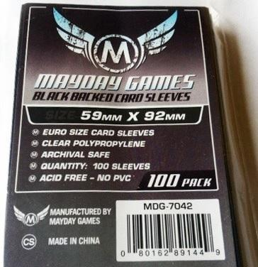 Mayday Euro Card Sleeves (100) - 59 x 92 mm - Black Backed