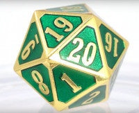Die Hard Dice Metal MTG Roll Down Counter - Shiny Gold Emerald (Single)