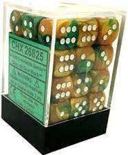 Dice Gemini 12mm D6 Gold Green w/White (36)