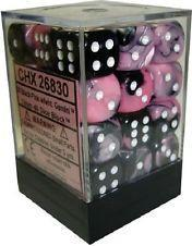 Dice Gemini 12mm D6 Black Pink w/White (36)