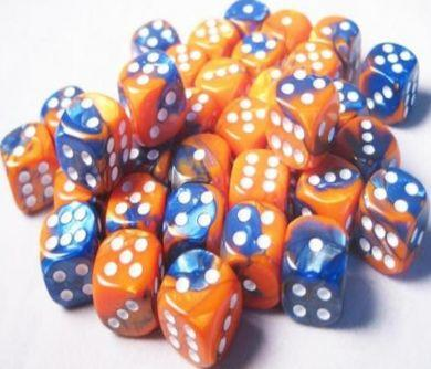 Dice Gemini 12mm D6 Blue Orange w/White (36)