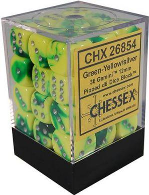 Dice Gemini 12mm D6 Green Yellow w/Silver (36)
