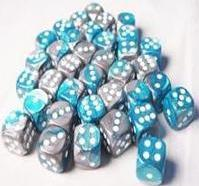 Dice Gemini 12mm D6 Steel Teal w/White (36)