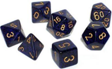 Dice Set Golden Cobalt Speckled (7)