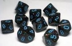 Dice Set Blue Stars Speckled (7)