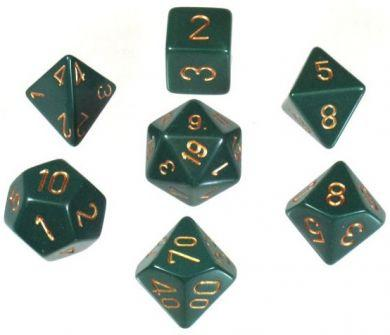 Dice Set Opaque Dusty Green/Copper (7)
