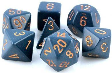 Dice Set Opaque Dusty Blue/Copper (7)