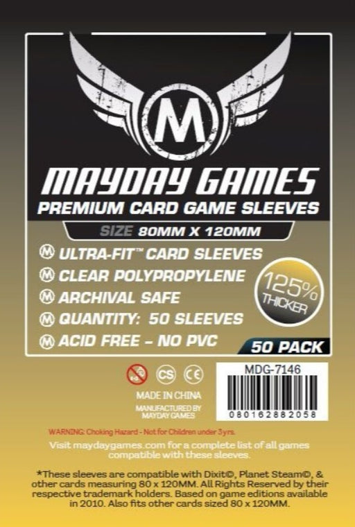 Mayday Games Premium Magnum Gold Ultra-Fit Card Sleeves (50) 80 MM X 120 MM