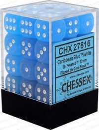 D6 Dice Frosted 12mm Caribbean Blue/White (36 Dice in Display) CHX27816