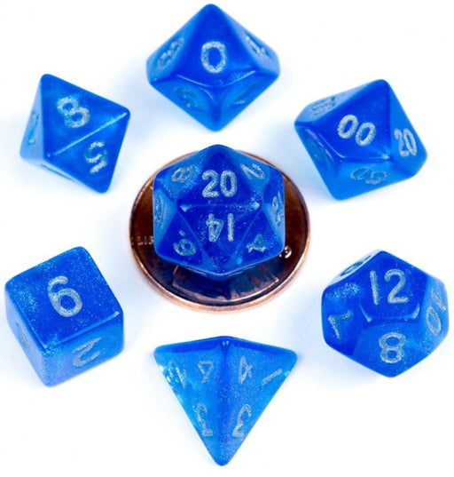 MDG Acrylic 10mm Polyhedral Dice Set - Stardust Blue