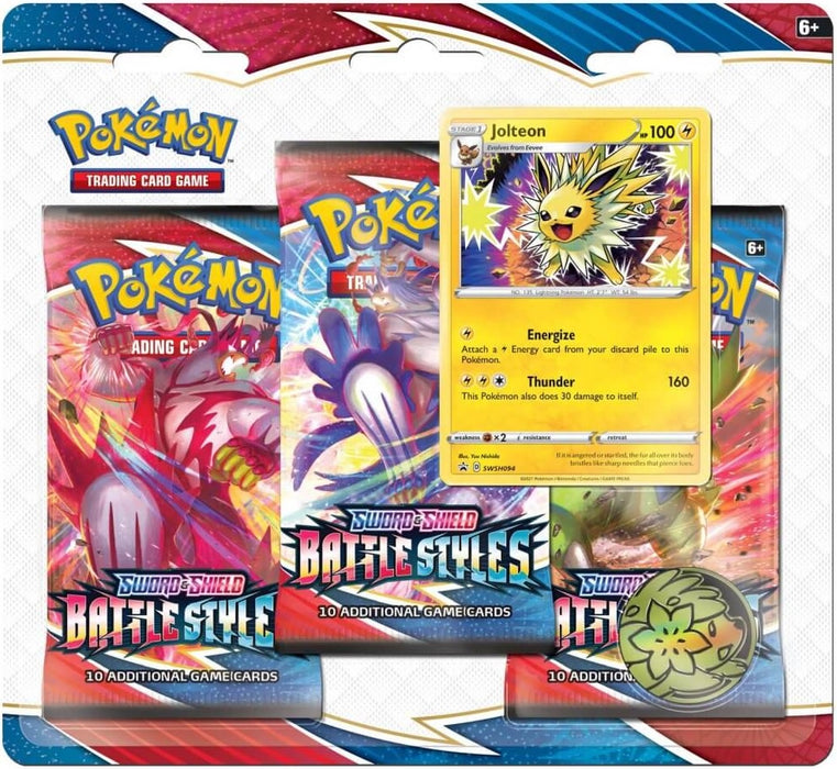 Pokémon TCG Sword and Shield Battle Styles Three Booster Blister