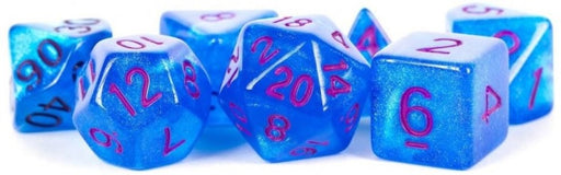 MDG Polyhedral Acrylic Dice Set 16mm with Purple Numbers Stardust Blue