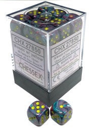 D6 Dice Festive 12mm Mosaic/Yellow (36 Dice in Display) CHX27850