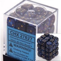 D6 Dice Scarab 12mm Royal Blue/Gold (36 Dice in Display) CHX27827
