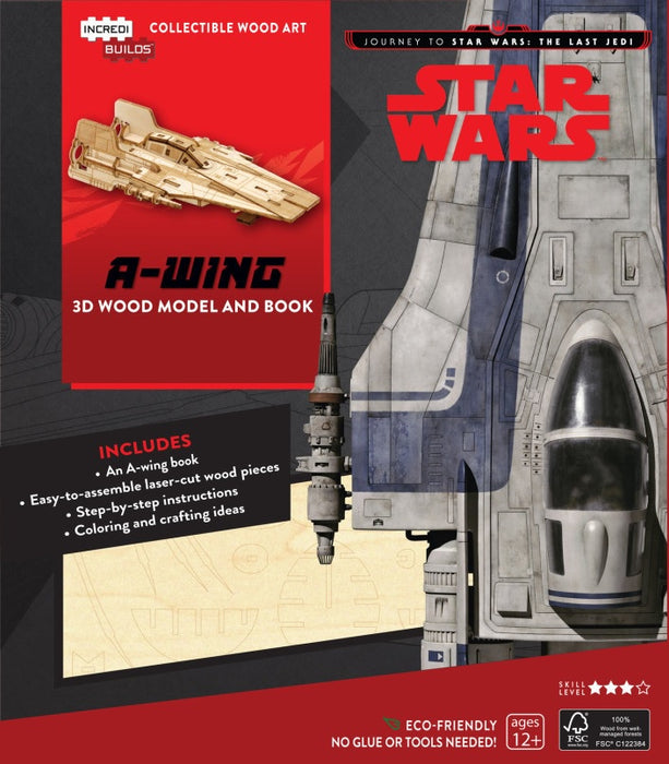 Incredibuilds Star Wars the Last Jedi A Wing 3D Wood Model and Book
