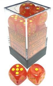 Dice Ghostly Glow 16mm D6 Orange/Yellow (12)
