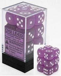 Dice Frosted 16mm d6 Purple/White Dice Block (12)