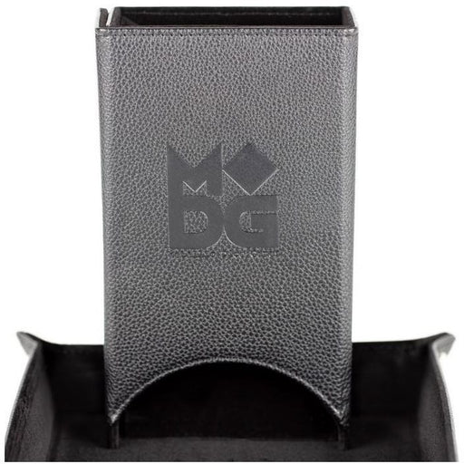 MDG Fold Up Leather Dice Tower Black