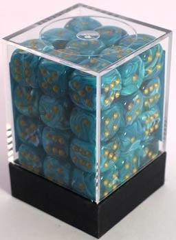 Dice Vortex 12mm D6 Teal/Gold (36)