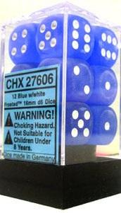 Dice Frosted 16mm D6 Blue/White (12)