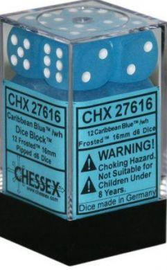 Dice Frosted 16mm D6 Caribbean Blue/White (12) CHX27616