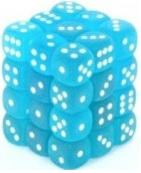 Dice Frosted 12mm D6 Caribbean Blue/White (36)