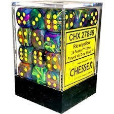D6 Dice Festive 12mm Rio/Yellow (36 Dice in Display) CHX27849