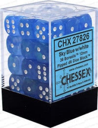 D6 Dice Borealis 12mm Sky Blue/White (36 Dice in Display)  CHX27826