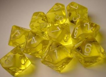 Dice Translucent D10 Yellow/White (10)