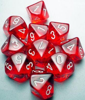 Dice Translucent D10 Red/White (10)