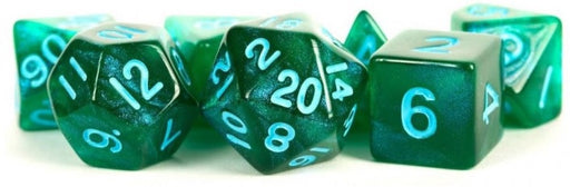 MDG Polyhedral Acrylic Dice Set 16mm with Blue Numbers- Stardust Green