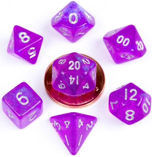 MDG Acrylic 10mm Polyhedral Dice Set - Stardust Purple