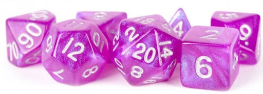 MDG Acrylic 16mm Polyhedral Dice Set - Stardust Purple