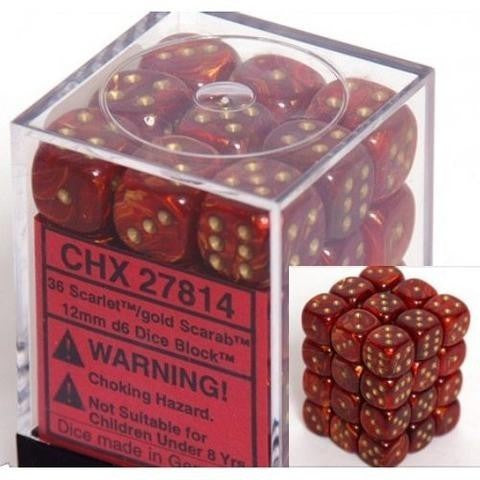 D6 Dice Scarab 12mm Scarlet/Gold (36 Dice in Display)  CHX27814