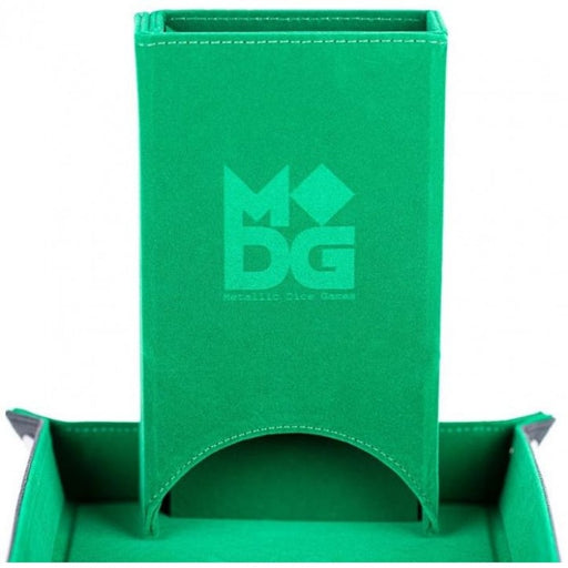 MDG Fold Up Velvet Dice Tower Green