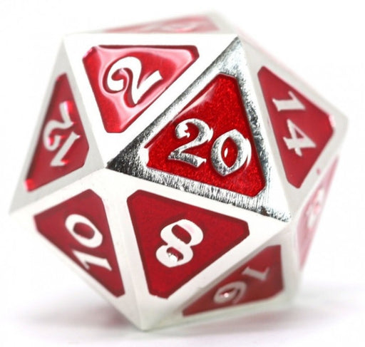 D20 Die Hard Dice Metal - Mythica Platinum Ruby (Single)