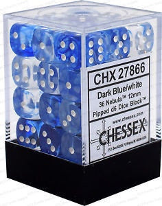 D6 Dice Nebula 12mm Dark Blue/White (36 Dice in Display)  CHX27866