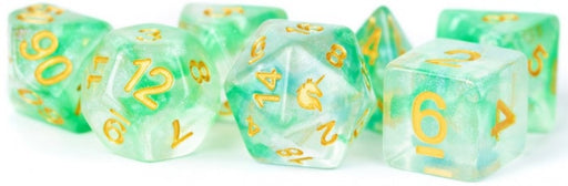 MDG Unicorn Resin Polyhedral Dice Set Icy Everglades